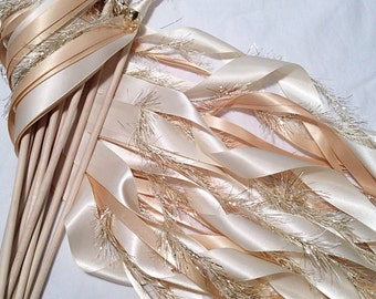 75 Wedding ribbon wands ivory and toffee with metallic gold frayed ribbon and bell send off ribbon