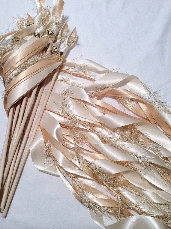 100 Wedding Ribbon Wands Ivory And Toffee With Metallic Gold