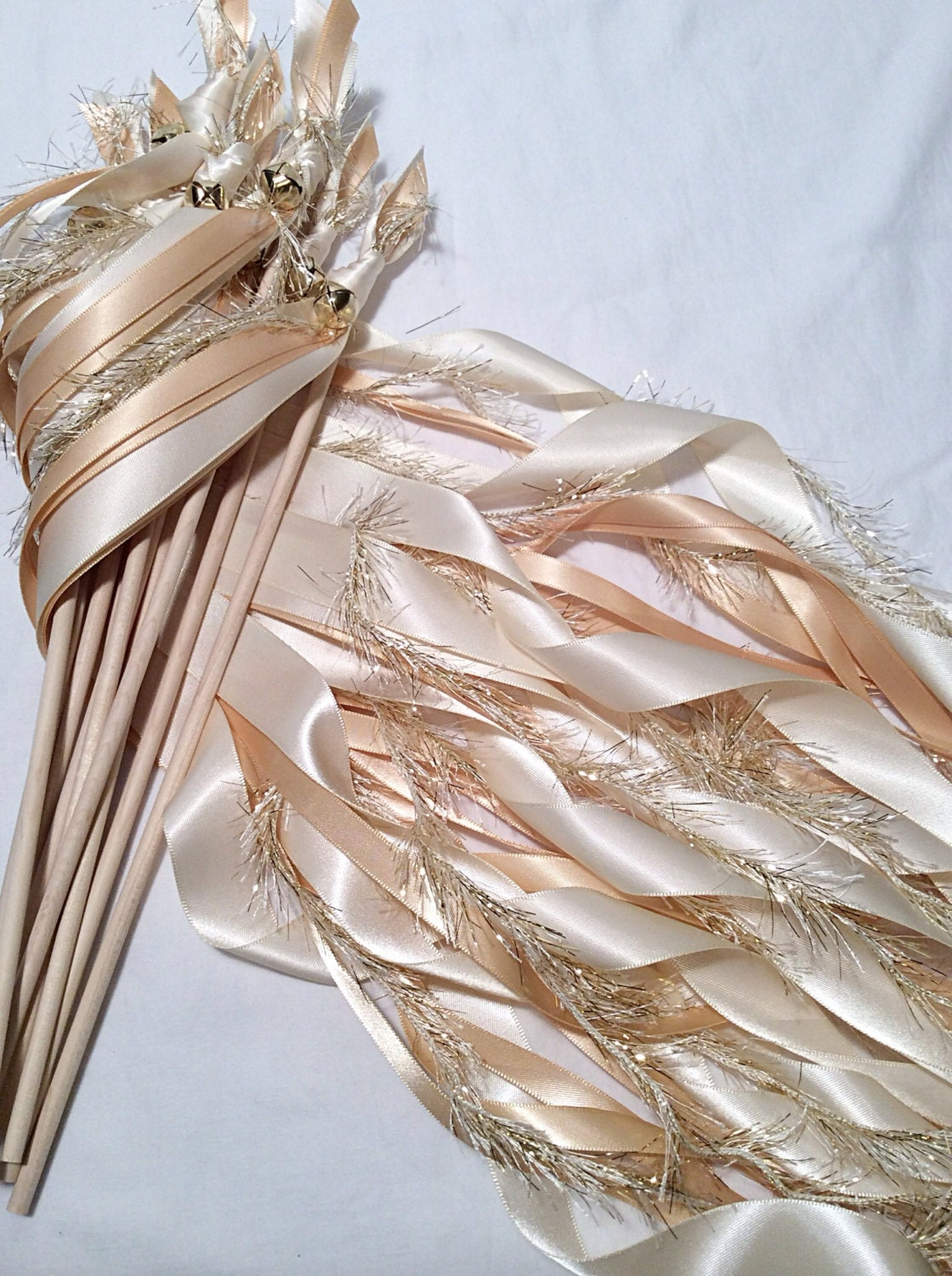 100 wedding ribbon wands ivory and toffee with metallic gold for Wedding wands