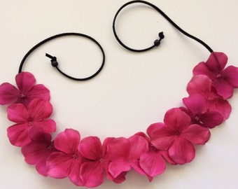 Boho Magenta flower crown floral halo women