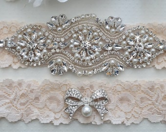 Wedding Garter Set, Pearl and Rhinestone Garter Set, Ivory Lace Garter Set - Style L250