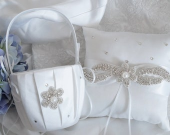 Flower Girl Basket, Ring Bearer Pillow, Wedding Basket and Pillow Set - Style 350
