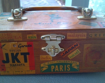 Wooden Decoupage Purse..Around the world theme..made in Hong Kong..vintage 1960s
