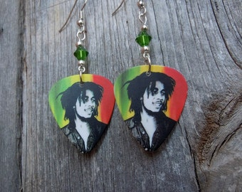 Bob Marley Guitar Pick Earrings with Crystals