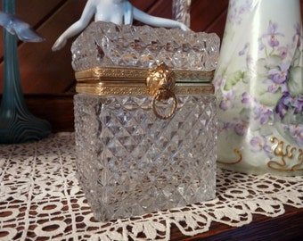 """French - Diamond Crystal Cut - 4.5"""" Trinket Casket Box with Bronze Lion Head and Embossed Hinged Brass Trim.. France"""