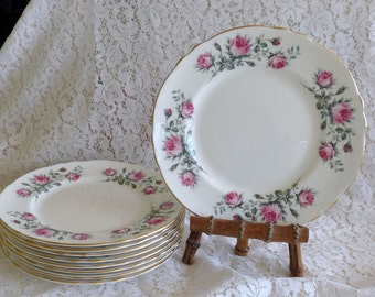 "STAFFORDSHIRE  Majestic Choice - Set of Four - Pink Rose Flowers - 8.25"" Salad Dessert LUNCH PLATES.. Mint Condition!!"