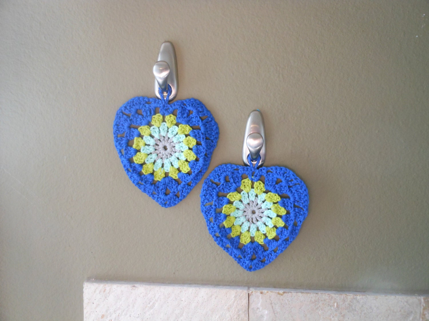 Crochet Wall Hanging : Hanging Wall Decor Crochet Kitchen Decor by KingStitchStudios