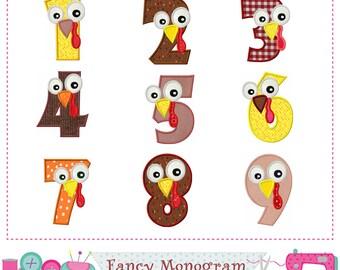 Turkey Numbers applique,Thanksgiving Numbers applique,Birthday Numbers applique,Thanksgiving applique,Turkey design.-01