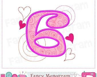 Valentine Number 6 applique, Birthday Number 6 applique,6,Valentine,Number embroidery, 6,Birthday design,Embroidery machine-02