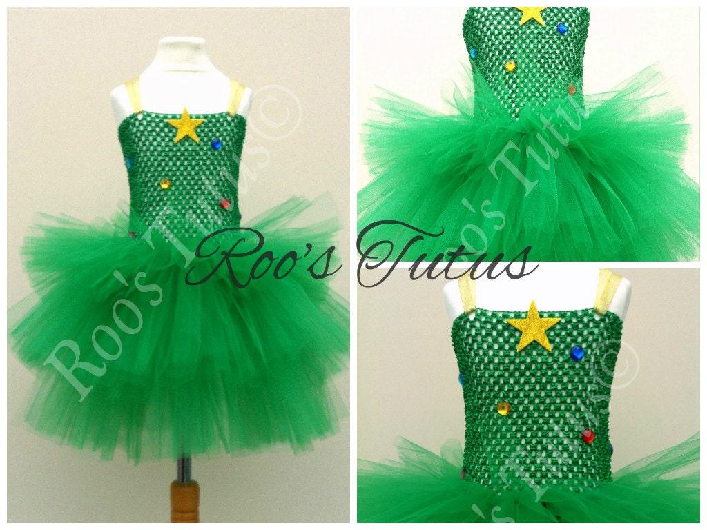 Christmas Tree Tutu Dress Costume Handmade Fancy Dress