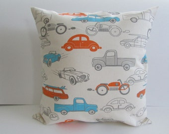 Retro Vehicle Decor Pillow Cover, Orange/Turquoise Pillow Cover For Child's Room