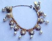 Vintage MIRIAM HASKELL Bracelet with Simulated Pearls Signed Designer