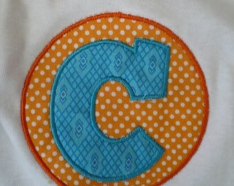 Monogrammed applique onesie or tee