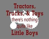 Tractors, Trucks,  Toys, Little Boys Print