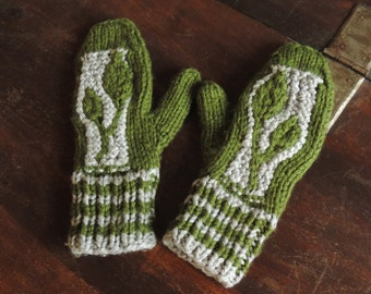 MADE TO ORDER - Hand Knit Leaf Pattern Winter Mittens/Mitts with 2 Colours