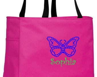 Personalized Butterfly Tropical Pink Essential Tote with FREE Personalization & FREE SHIPPING    B0750