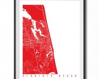 VIRGINIA BEACH Map Art Print / Virginia Poster / Virginia Beach Wall Art Decor / Choose Size and Color