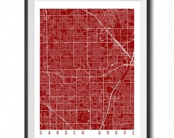 GARDEN GROVE Map Art Print / California Poster / Garden Grove Wall Art Decor / Choose Size and Color