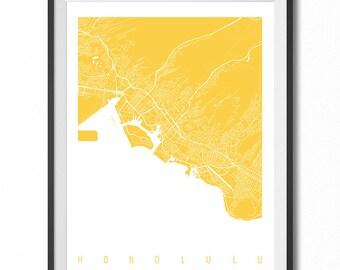 HONOLULU Map Art Print / Hawaii Poster / Honolulu Wall Art Decor / Choose Size and Color