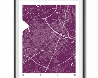 WACO Map Art Print / Texas Poster / Waco Wall Art Decor / Choose Size and Color