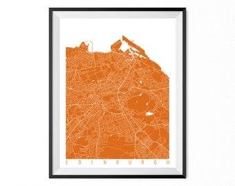 EDINBURGH Map Art Print / Scotland Poster / Edinburgh Wall Art Decor / Choose Size and Color