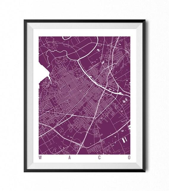 waco map art print texas poster waco wall art decor. Black Bedroom Furniture Sets. Home Design Ideas