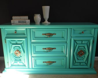 SOLD--Turquoise Buffet, Bar Cabinet, Credenza, Dresser, Sideboard, Entertainment Center, Painted Ugly