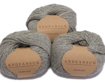 100% Baby Alpaca Yarn Skeins. Set of Three. Light Grey
