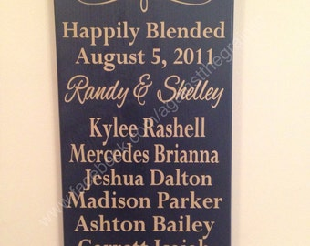 Personalized blended family sign, perfect for married couples who have children from previous relationships