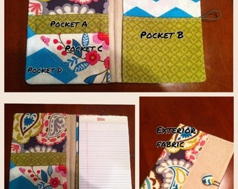 Custom, made to order fabric portfolio,  legal pad organizer, notepad cover with 5 pockets, jr. Legal pad included