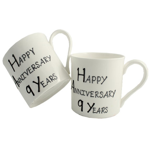 PERSONALISED Happy 9th Year Wedding Anniversary Gift Pair of Fine Bone ...