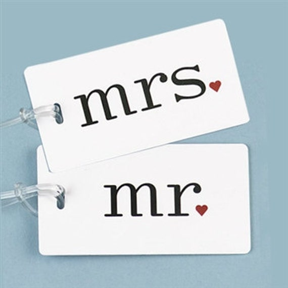 Mr. and Mrs. Luggage Tags, Bride and Groom Luggage Tags, Honeymoon Luggage Tags
