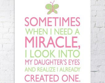 Miracle Baby Gift 16x20 Pink Lime Green Baby Girl Wall
