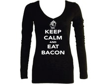 Keep calm and eat bacon funny parody sleeved black v neck women junior t shirt