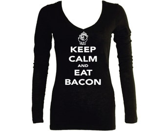 Keep calm and eat bacon funny parody sleeved black v neck women junior t shirt