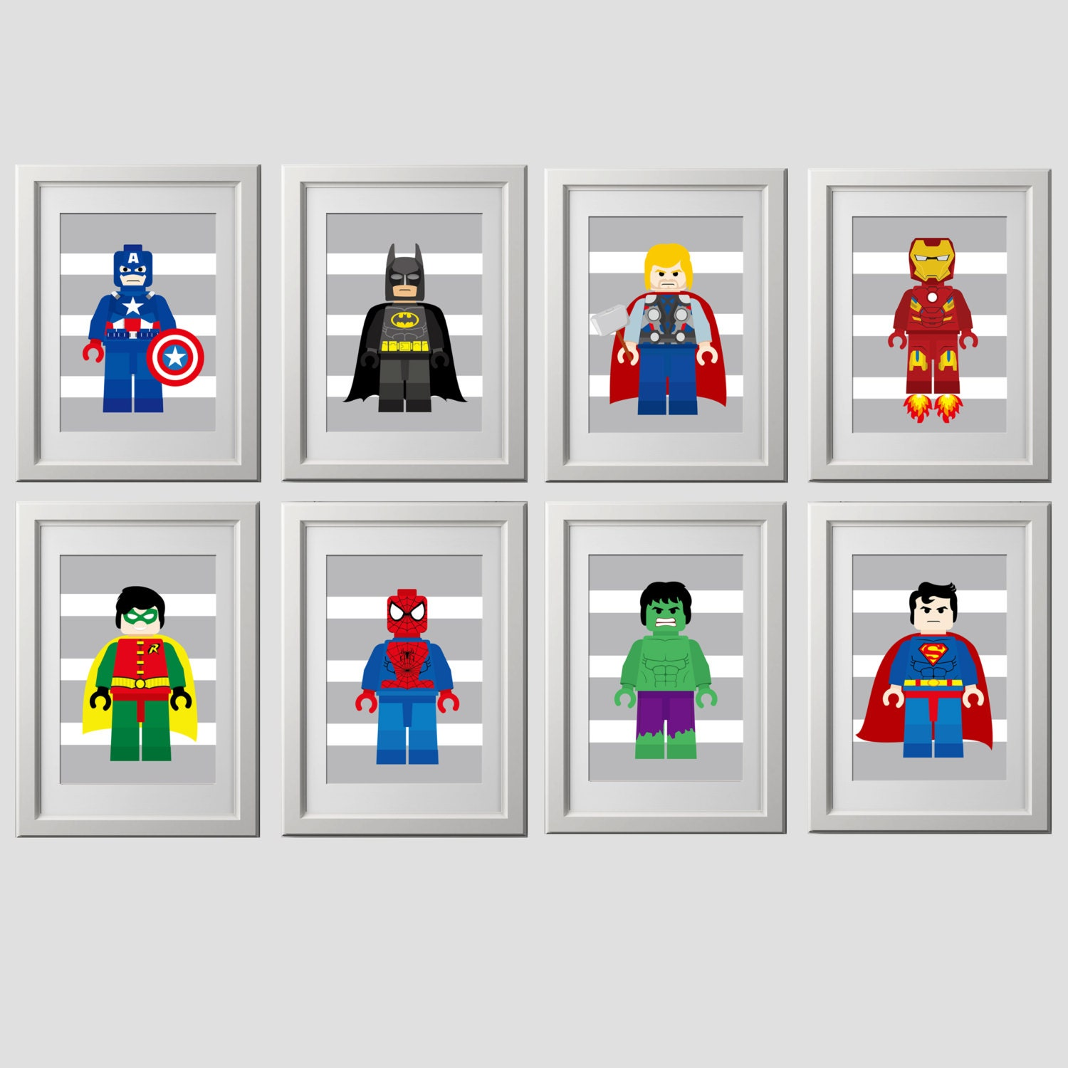 superhero wall art prints 8x10 inch prints by amysdesignshoppe. Black Bedroom Furniture Sets. Home Design Ideas