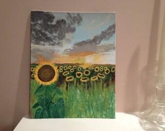 Sunflower Field Landscape Painting