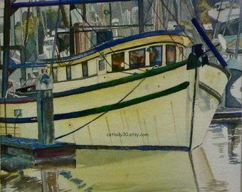 Yellow Boat Watercolor. Boat painting. Nautical decor. Boat wall art. Watercolor boat. Boat picture. Boat artwork. Watercolor painting.