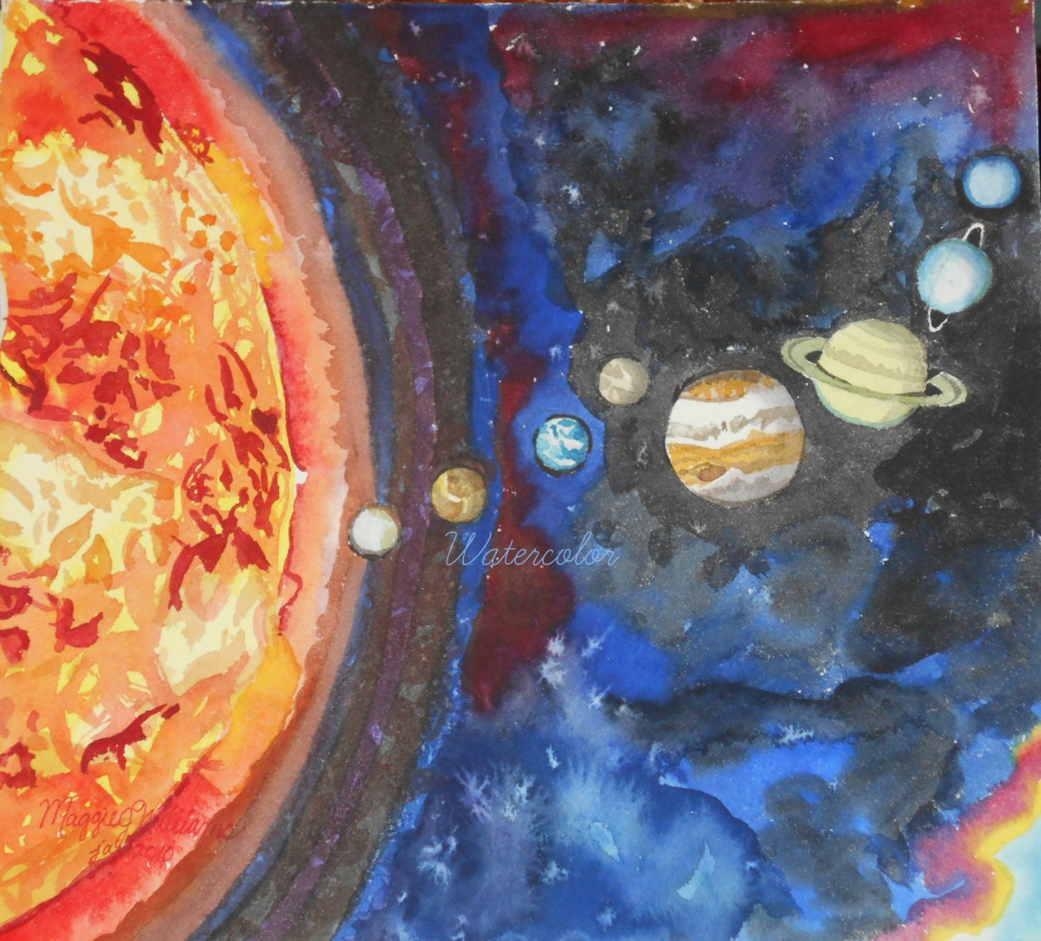 original solar system watercolor painting 10x11 planets