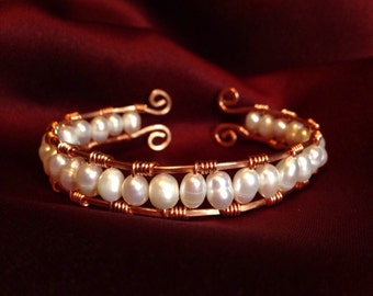 Copper Wire and Fresh Water Pearl Cuff Bracelet