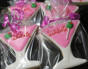 Martini glass cookies personalized