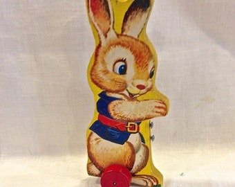 Vintage  Fisher Price, Bunny Rabbit, Wood Pull Toy, No. 309, Lithograph Paper, Easter Rabbit Toy, Circa 1950s