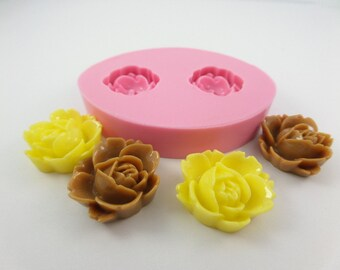 Rose open design mold, Clay Fondant Wax Soap Miniature Victorian Jewelry Charms Flexible Molds. Natu mold 192