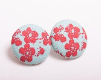 Aqua Asian Print Fabric Button Earrings