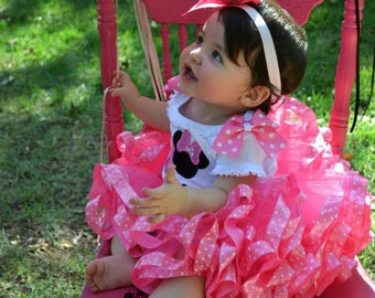 Pink polka-dot ribbon trimmed tutu