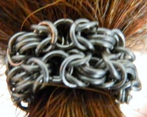 Chainmaille Beard Jewelry--Byzantine Weave Chainmaille for Beards in Stainless Steel with Magnetic Clasp