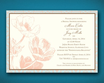 Vintage Bridal Shower Invitation • Rustic Shower Invitation • Antique Bridal Shower Invite • Wedding Shower Invitations • Damask Invitation