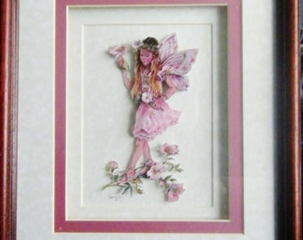 New Handcrafted Framed Decoupaged Faerie / Pixie Picture by Frances Mortimer for Mystic Elements~ Rose