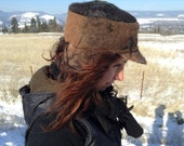 Alpaca felt hat with Ear flaps, cold weather ready