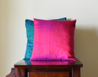 Set of two -  Fuchsia and teal  Dupioni pure silk cushion covers / shams 18 X 18 - OPENING SALE